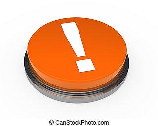 3d orange button exclamation mark