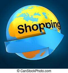 3d orange Earth globe over blue background shopping text