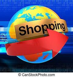 3d orange Earth globe over digital background shopping text