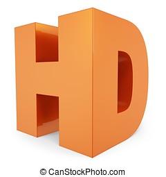 3d orange hd symbol on white background