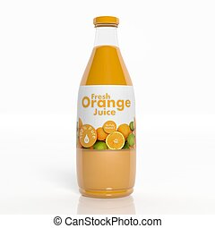 3D orange juice transparent glass bottle isolated on white