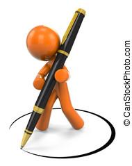 3D Orange Man Designing With Pen