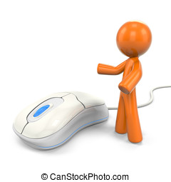 3D Orange Man Displaying A Computer Mouse