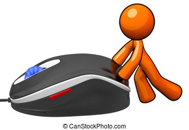 3d Orange Man Pushing Mouse
