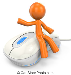 3D Orange Man Sitting On Computer Mouse - 3D Orange Man...