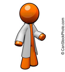 3d Orange Man wearing a Lab coat - Lab coat, orange man. All...
