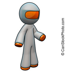 3d Orange Man Wearing Coveralls with Hood