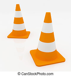 3d orange traffic cones with white stripes.