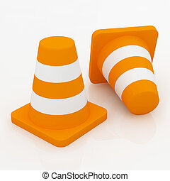 3d orange traffic cones with white stripes.