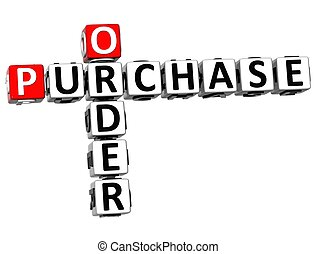 3D Order Purchase Crossword on white background