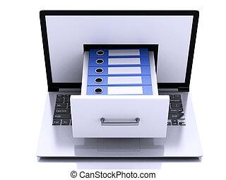3d, ordinateur portable, à, anneau, binders., données, storage.