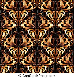 3d ornate gold Damask seamless pattern.