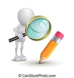 3d, osoba, oglądając, niejaki, ołówek, z, niejaki, szkło powiększające