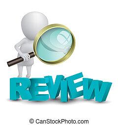 """3d, osoba, oglądając, niejaki, słowo, """"review"""", z, niejaki, szkło powiększające"""