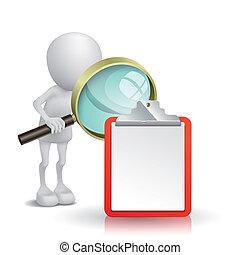 3d, osoba, oglądając, przedimek określony przed rzeczownikami, nuta, z, niejaki, szkło powiększające