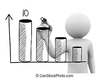 3d, osoba, rysunek, 3d, postęp zasuwają, wykres
