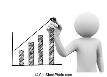 3d, osoba, rysunek, wzrost, postęp zasuwają, wykres