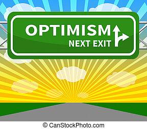 3d, otimismo, sinal, ilustração, otimista, mindset, mostra