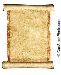 3d, oud, perkament, boekrol