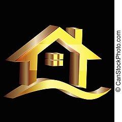 3d, ouro, casa, logotipo