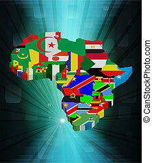 3D outline African map with national flag, vector...