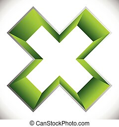 3d outline cross icon – Contour of X shape, X letter with...