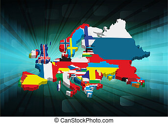 3D outline European map