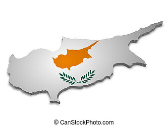 Cyprus - 3D outline of Cyprus with Flag