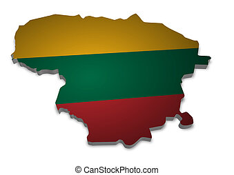 Lithuania - 3D outline of Lithuania with flag