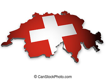 Switzerland - 3D outline of Switzerland with flag