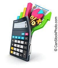 3d, ouvert, calculatrice
