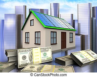 3d over city - 3d illustration of home with solar panel with...