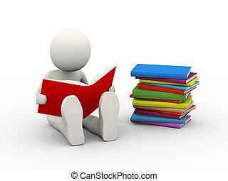 3d overwhelmed student studying