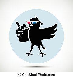 3d, pássaro, óculos