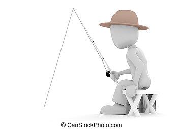3d, pêcheur, homme