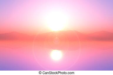 3d, pôr do sol, nebuloso, paisagem, oceânicos