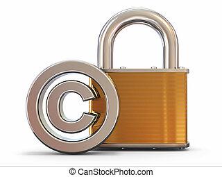 3d, padlock., copyright, znak
