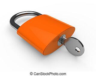 3d padlock orange