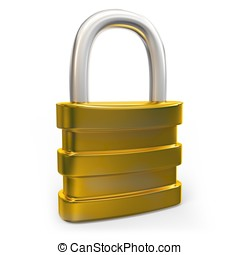 3d padlock security concept