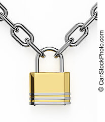 3D padlock with chain isolated over white
