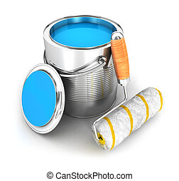 3d paint can and a roller brush, isolated white background,...