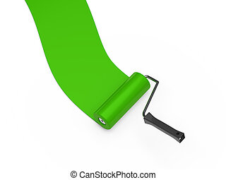 3d paint roller green color ground white