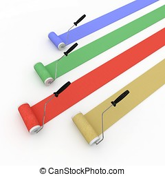 3d  paint rollers isolated on white stripes