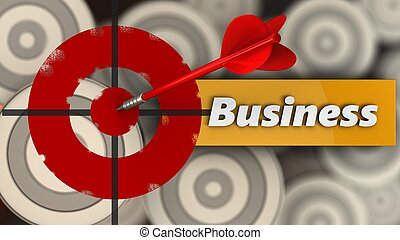 3d painted target with business sign
