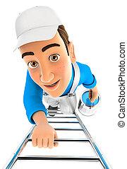 3d painter climbing up the ladder