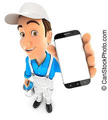 3d painter holding smartphone