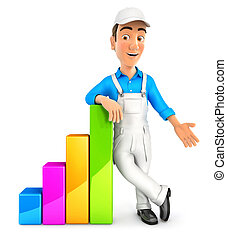 3d painter leaning against bar chart