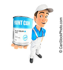 3d painter standing and holding paint can