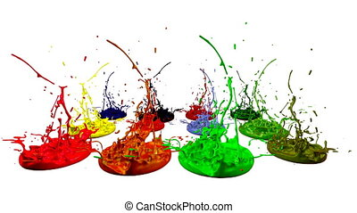 3d paints dance in 4k on white background. Simulation of...