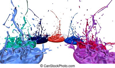3d paints dance in 4k on white background. Simulation of splashes of ink on a musical speaker that play music. beautiful splashes as a bright background in ultra high quality. Multi-colored V